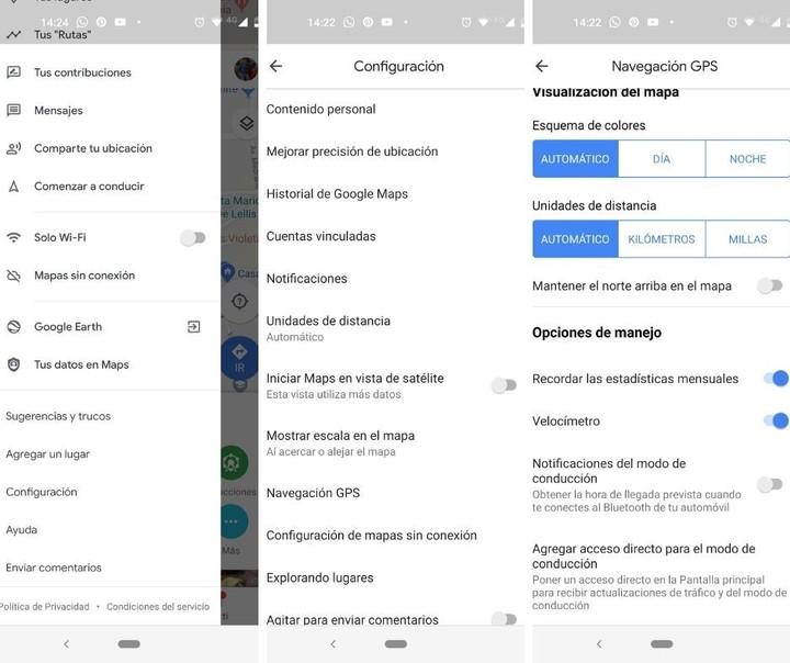 Los pasos a seguir para activar el velocímetro en la versión de Google Maps en Android.