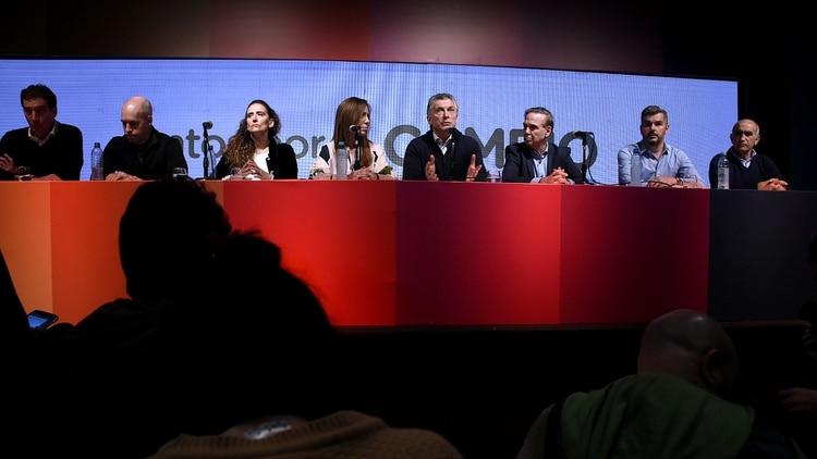 Mauricio Macri brindó una conferencia de prensa tras reconocer la derrota en el búnker de Juntos por el Cambio (Nicolas Stulberg)