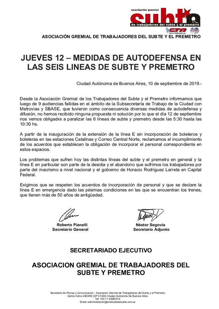 Comunicado de los Metrodelegados que anunciaron un nuevo paro para el jueves a la mañana.
